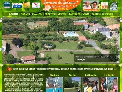 Site internet des gîtes de peche du Domaine de Garreau
