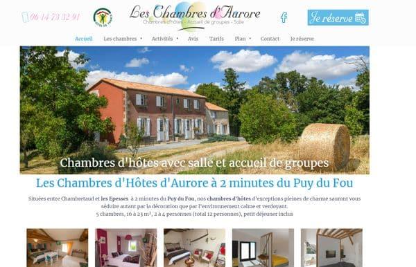 Conception site web les chambres d'aurore autour ddu Puy du Fou