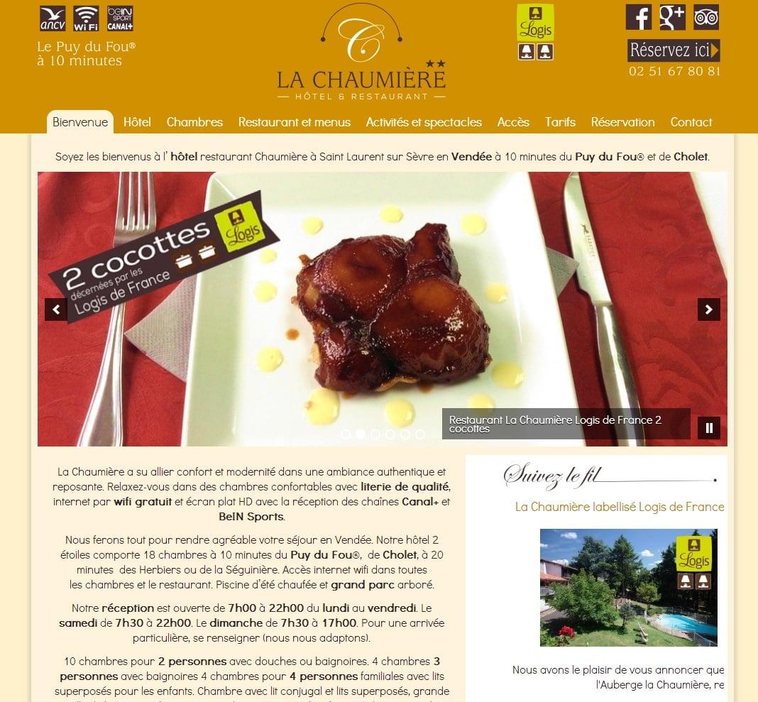 Un nouveau site internet pour l'hotel la Chaumière de St Laurent sur Sèvre
