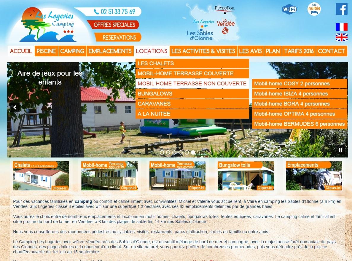 Création du site internet du camping les Logeries en Vendée