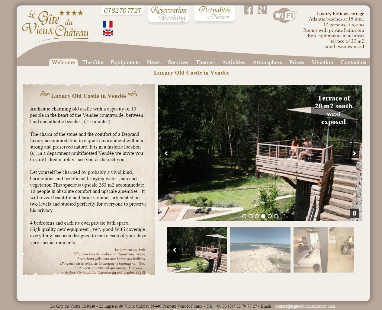 Création d'un site internet pour un gîte grand standing en Vendée