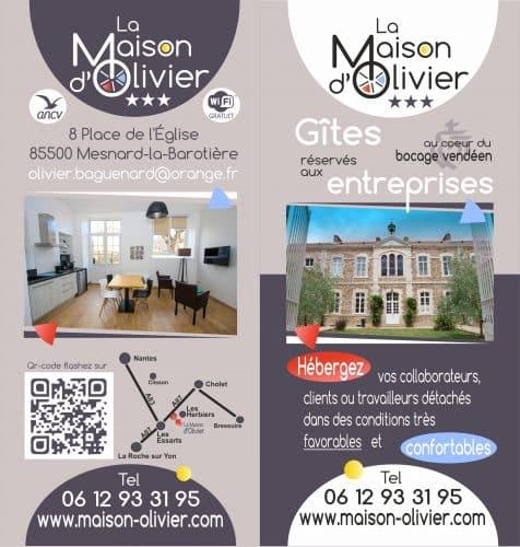 Documentation papier pour chambres d'hôtes maison d'Olivier